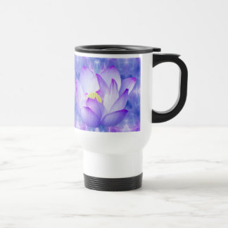 Purple lotus flower and fractal crystals travel mug