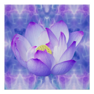 Purple lotus flower and fractal crytals poster