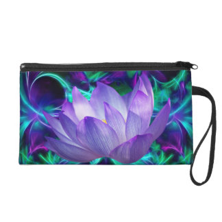 Purple lotus flower and its meaning wristlet clutch