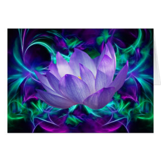 Purple lotus flower and its meaning card