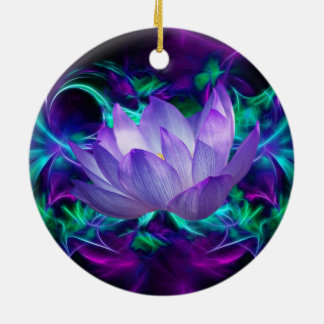 Purple lotus flower and its meaning ceramic ornament