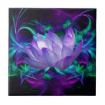 """Purple lotus flower and its meaning ceramic tile<br><div class=""""desc"""">The flower symbolism associated with the lotus is estranged love and forgetfulness of the past. The lotus is the national flower of India. The blue or Indian lotus, also known as the bean of India and the sacred water-lily of Hinduism and Buddhism. Lotus roots are also used widely in Asian...</div>"""