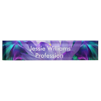 Purple lotus flower and its meaning desk name plate