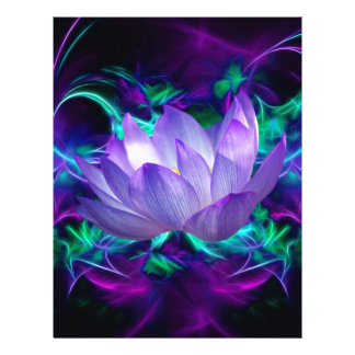Purple lotus flower and its meaning customized letterhead