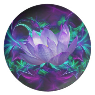 Purple lotus flower and its meaning melamine plate  sc 1 st  Zazzle : lotus flower dinnerware - pezcame.com