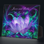 "Purple lotus flower and its meaning plaque<br><div class=""desc"">The flower symbolism associated with the lotus is estranged love and forgetfulness of the past. The lotus is the national flower of India. The blue or Indian lotus, also known as the bean of India and the sacred water-lily of Hinduism and Buddhism. Lotus roots are also used widely in Asian...</div>"