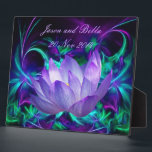 """Purple lotus flower and its meaning plaque<br><div class=""""desc"""">The flower symbolism associated with the lotus is estranged love and forgetfulness of the past. The lotus is the national flower of India. The blue or Indian lotus, also known as the bean of India and the sacred water-lily of Hinduism and Buddhism. Lotus roots are also used widely in Asian...</div>"""