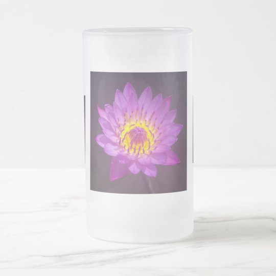 Purple Lotus Flower Frosted Glass Beer Mug