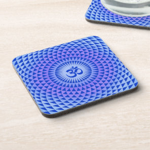 Purple Lotus flower meditation wheel OM Beverage Coaster