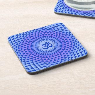 Purple Lotus flower meditation wheel OM Beverage Coaster