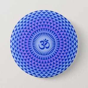 Purple Lotus flower meditation wheel OM Button