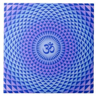 Purple Lotus flower meditation wheel OM Ceramic Tile