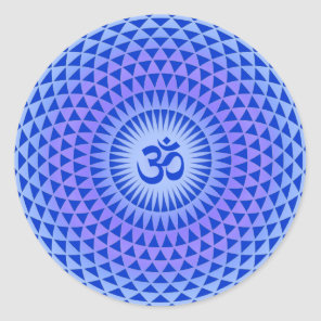 Purple Lotus flower meditation wheel OM Classic Round Sticker