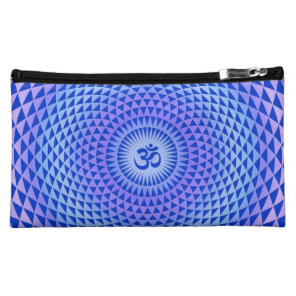 Purple Lotus flower meditation wheel OM Cosmetic Bag