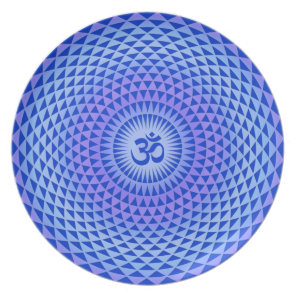 Purple Lotus flower meditation wheel OM Dinner Plate