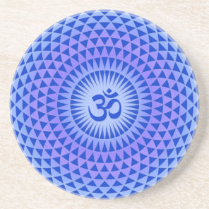 Purple Lotus flower meditation wheel OM Drink Coaster