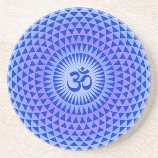 Purple Lotus flower meditation wheel OM Drink Coaster
