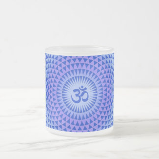 Purple Lotus flower meditation wheel OM Frosted Glass Coffee Mug