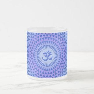 Purple Lotus flower meditation wheel OM Frosted Glass Coffee Mug