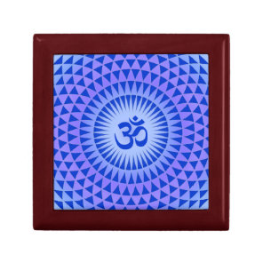 Purple Lotus flower meditation wheel OM Jewelry Box