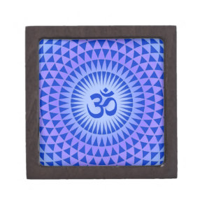 Purple Lotus flower meditation wheel OM Keepsake Box