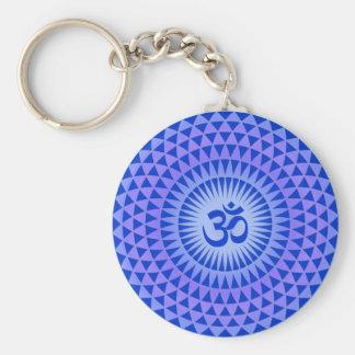 Purple Lotus flower meditation wheel OM Keychain