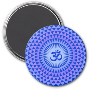 Purple Lotus flower meditation wheel OM Magnet