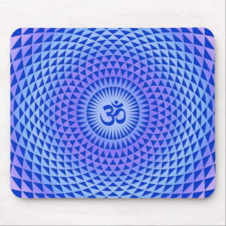 Purple Lotus flower meditation wheel OM Mouse Pad