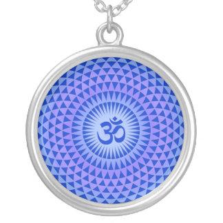 Purple Lotus flower meditation wheel OM Pendants