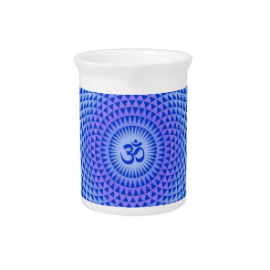 Purple Lotus flower meditation wheel OM Pitcher