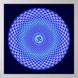 Purple Lotus flower meditation wheel OM Poster