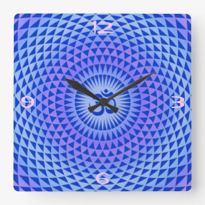 Purple Lotus flower meditation wheel OM Square Wall Clock