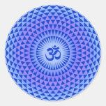 Purple Lotus flower meditation wheel OM Classic Round Sticker