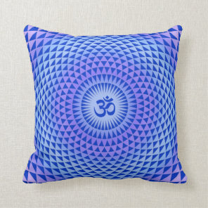 Purple Lotus flower meditation wheel OM Throw Pillow