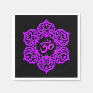 Purple Lotus Flower Om on Black Paper Napkin