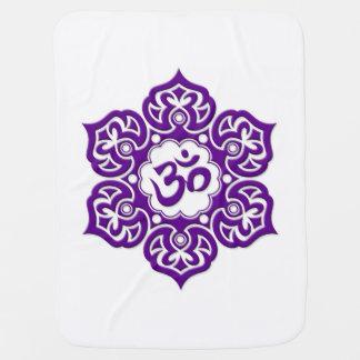 Purple Lotus Flower Om on White Baby Blanket