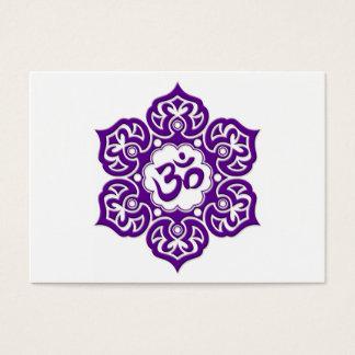 Purple Lotus Flower Om on White Business Card