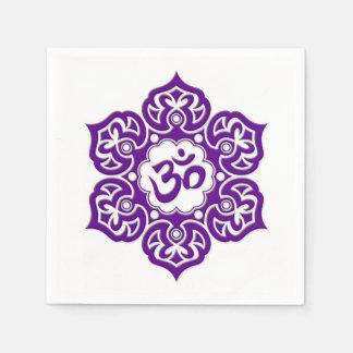 Purple Lotus Flower Om on White Paper Napkin