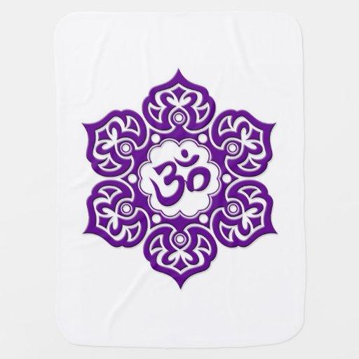 Purple Lotus Flower Om on White Swaddle Blanket