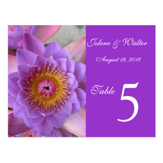 Purple Lotus Flower Table Number Card Postcard