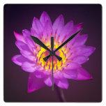 Purple Lotus Flower Wallclocks