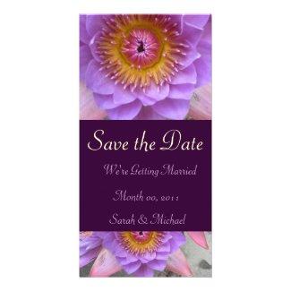 Purple Lotus Flower Wedding Announcement Photo Cards