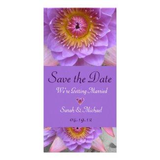 Purple Lotus Flower Wedding Announcement Customized Photo Card