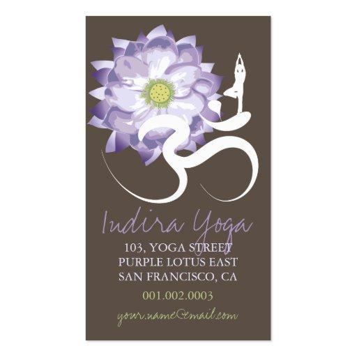 Purple lotus flower yoga om zen business card zazzle for Zen business cards