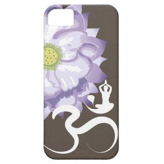 Purple Lotus Flower Yoga White Om Symbol Zen iPhone 5 Cases