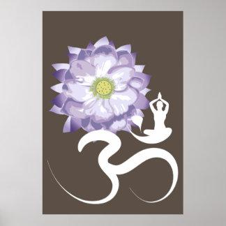 Purple Lotus Flower Yoga White Om Symbol Zen Poster
