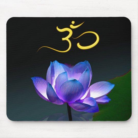 Purple Lotus in full bloom with Om, mousepad