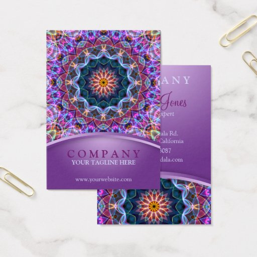 Purple Lotus Mandala chubby Business Card