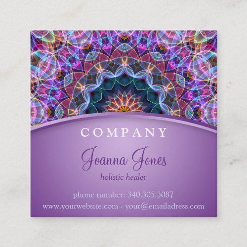 Purple Lotus Mandala Square Square Business Card