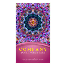 Purple Lotus Mandala with pink Business Card Template